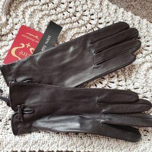 NWT Grandoe Dk Brown silk-lined gloves, Size 7 ½